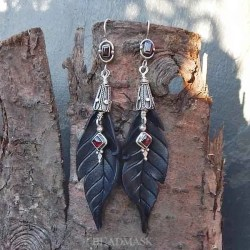 leather raven feather earrings with Bali silver and garnet