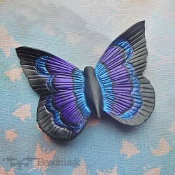 tooled leather butterfly barrette