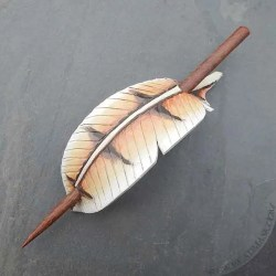 barn owl feather leather hair slide