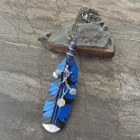leather jay feather pendant