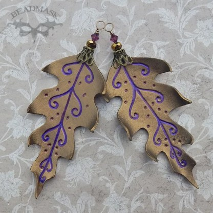 set of 2 bronze leather leaf ornaments