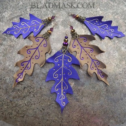 purple and bronze leather holiday ornaments