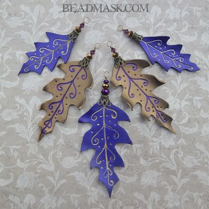 purple and bronze leather oak leaves
