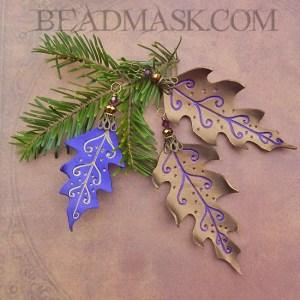 leather oak leaf ornaments