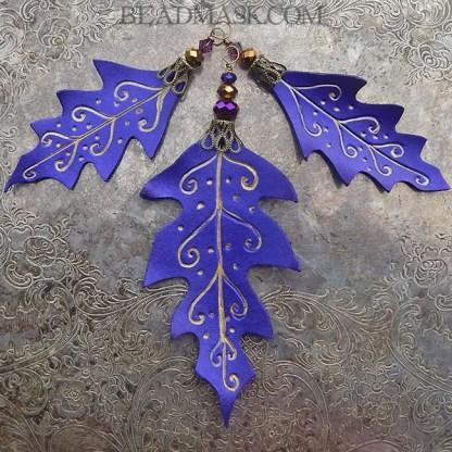 3 purple oak leaf ornaments