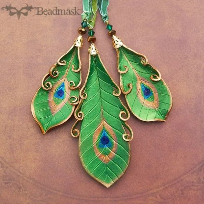 emerald green leather peacock feather ornaments