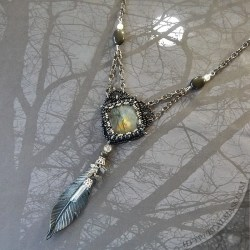 labradorite and leather raven feather necklace