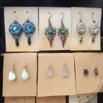 beadwoven earrings and gemstone briolette dangles