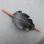 Leather crow feather hair slide barrette with  Autumn striped wood stick