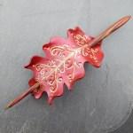 Fae oak leaf leather hair slide in crimson, copper and gold