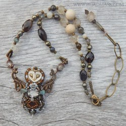bead embroidered necklace with laura mears owl cabochon