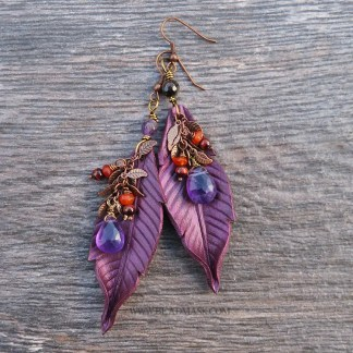 leather and gemstone dangle earrings in plum and copper
