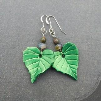 leather birch leaf earrings