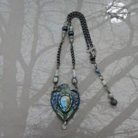 labradorite raven leather necklace