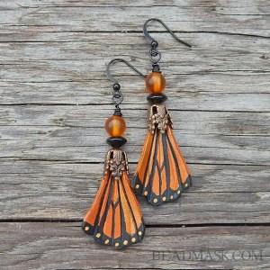 ornate monarch butterfly wing earrings