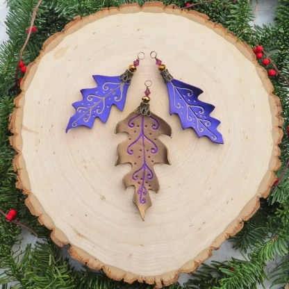 leather leaf christmas ornaments