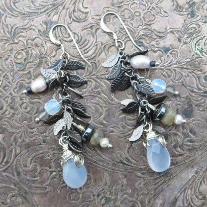 gemstone cluster earrings in silvery hues
