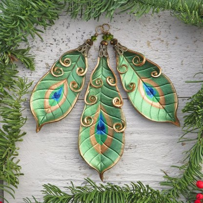 leather peacock feather ornaments