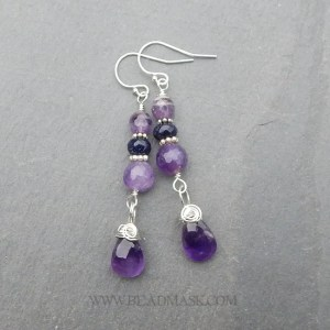 faceted amethyst and sterling silver dangle earrings