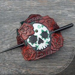 skull and roses tooled leather barrette