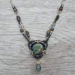 mixed media beaded labradorite necklace