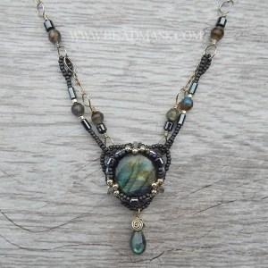 mixed media beaded labradorite necklace