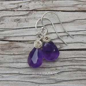Faceted amethyst teardrop earrings with sterling silver wire wrap