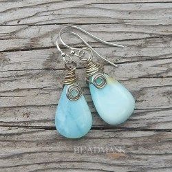 Peruvian Blue Opal & Sterling Silver Earrings