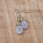 Faceted white chalcedony & sterling silver earrings.