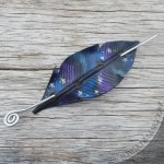 Cosmic crow leather hair slide barrette