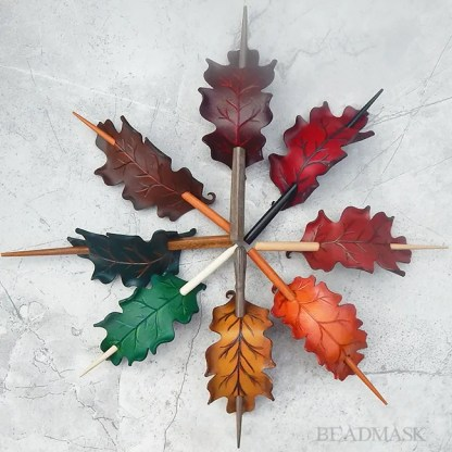 leather oak leaf stick barrette
