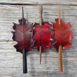 Leather oak leaf barrettes in shades of red