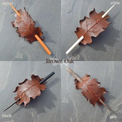 oak leaf leather hair slides