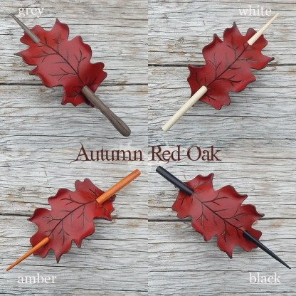 oak leaf hair stick barrettes