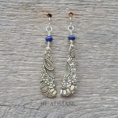 lapis and bone paisley earrings