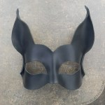 black bat leather mask