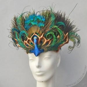 peacock leather headdress