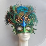 sculpted leather peacock headdress and mask