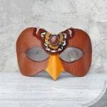 wood falcon leather mask
