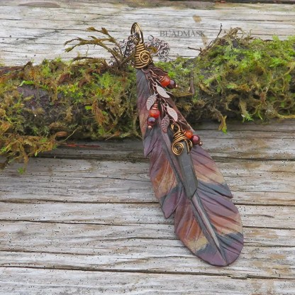 leather feather necklace with gemstone accents