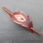 dark phoenix feather leather hair slide