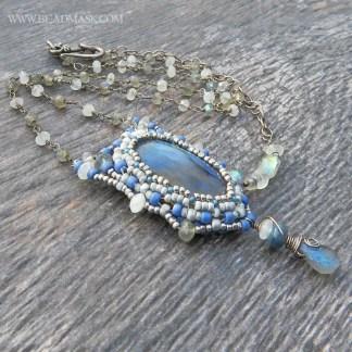 labradorite and kyanite beaded necklace