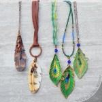 jeweled leather feather pendants