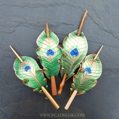 leather peacock feather hair stick barrettes