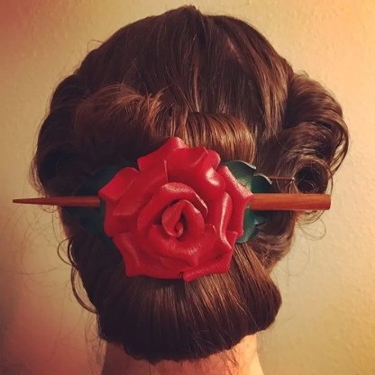 red rose leather barrette