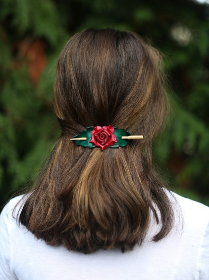 red rose leather shawl pin
