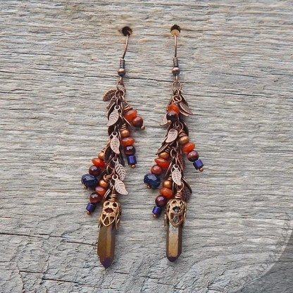Quartz crystal dangle earrings with fall leaf motif