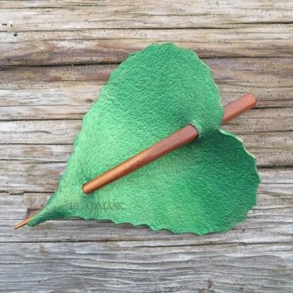 leather leaf shawl pin