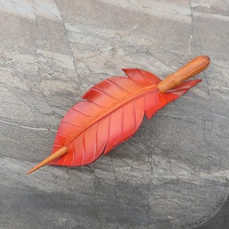 leather firebird feather hair stick barrette