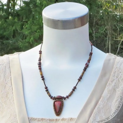 beaded red jasper necklaces